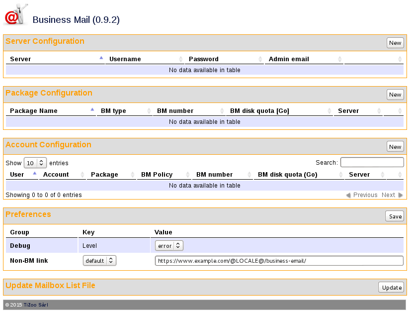 Business Mail interface